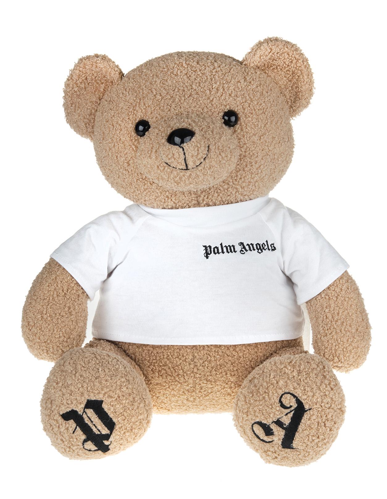 PALM ANGELS Mini Bear Peluche With White Logo T-Shirt