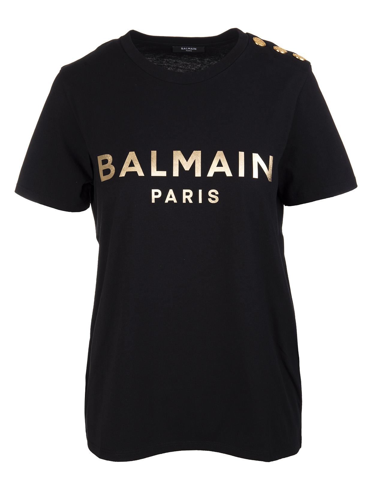 BALMAIN Woman Black and Gold Logo T-Shirt With Buttons
