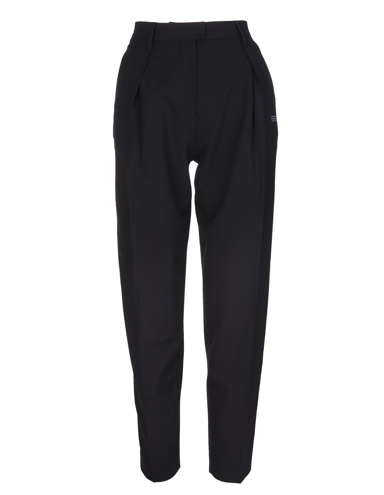 OFF-WHITE Woman Black Tapered Stretch Wool Trousers