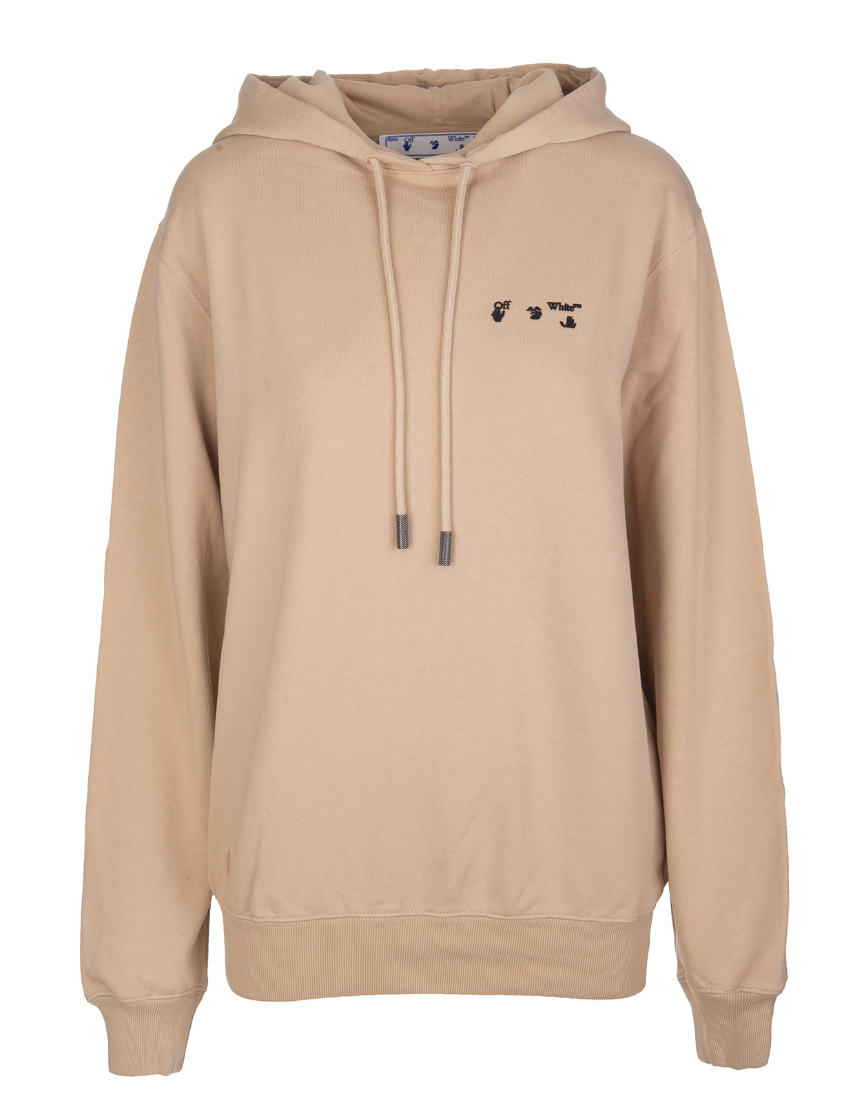 OFF-WHITE Woman Beige Oversize Hoodie With Contrast Logo