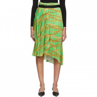 Green Chains Pleated Skirt