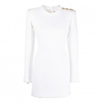 Dress In White Cotton Blend