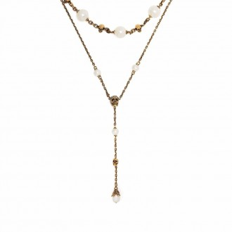 Necklace In Golden Brass And Fake Pearls