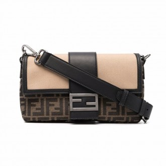 Baguette Shoulder Bag In Brown Fabric And Black Leather