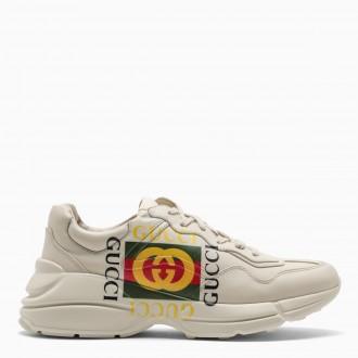 Sneaker Rhyton in pelle avorio con logo Gucci
