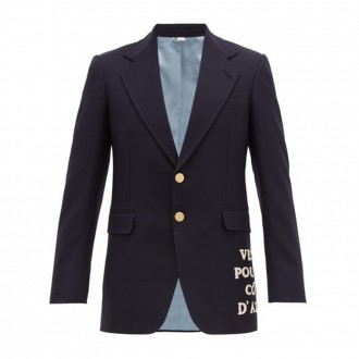 Embroidered-appliqué single-breasted wool blazer