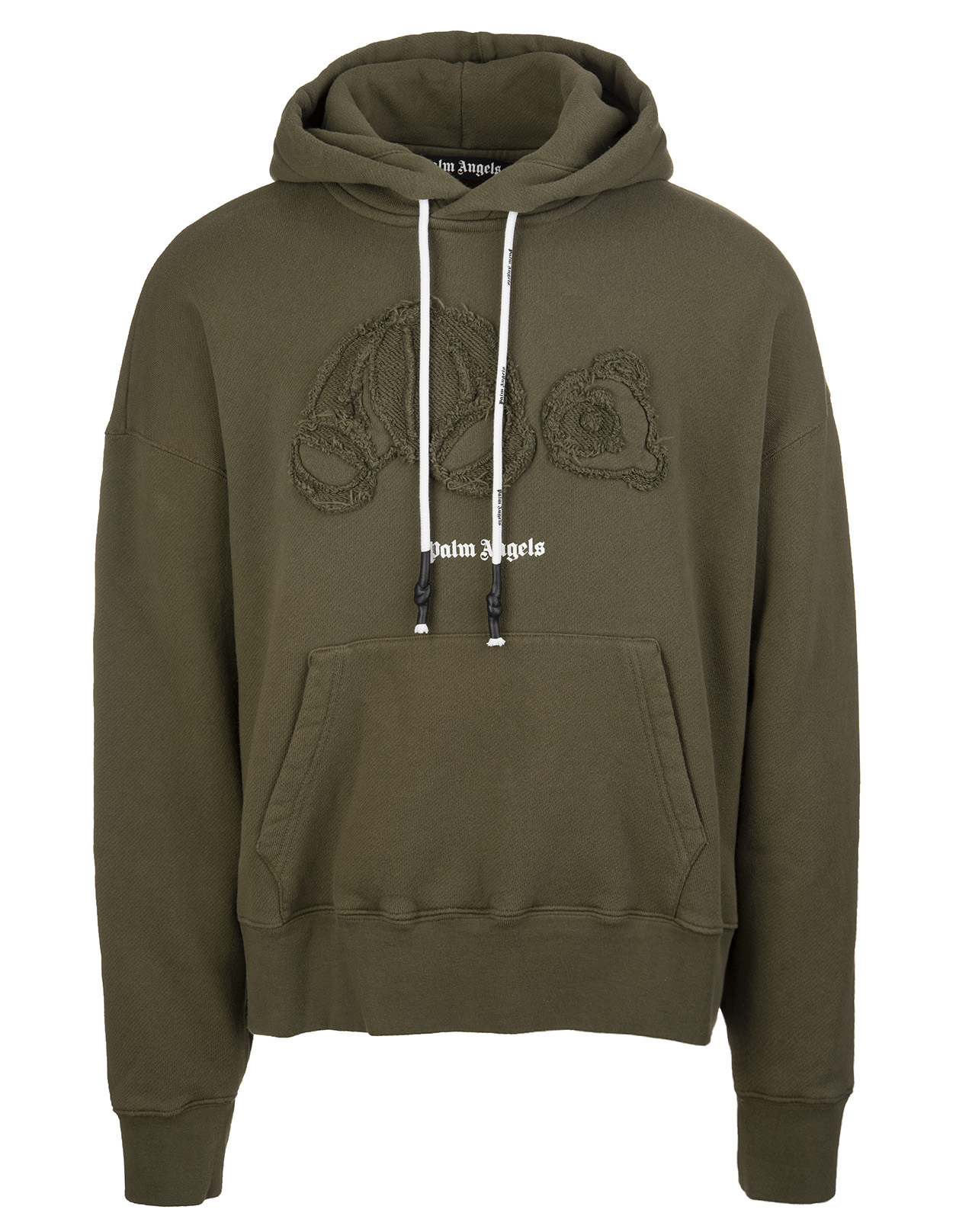 PALM ANGELS Man Military Green Knitted Bear Hoodie