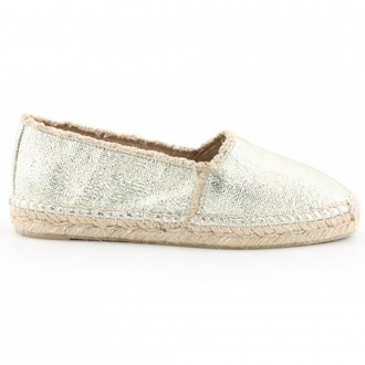 Espadrilles In Rope And Gold Fabric