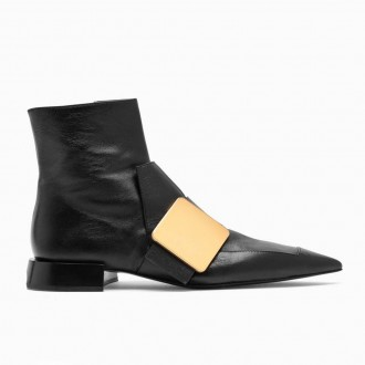 Low Heel Ankle Boots In Black Leather