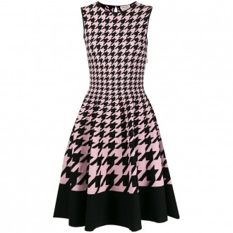 Houndstooth Flared Dress