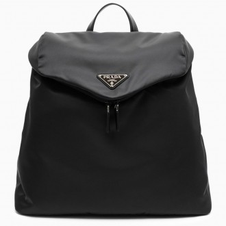 Black Backpack In Re-nylon And Leather