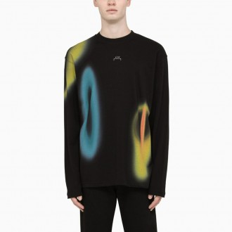 Black T-shirt With Multicolored Details