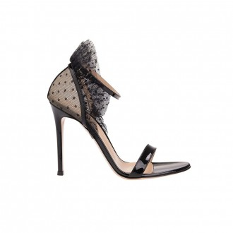 Painted Leather Sandal With Poised Tulle Insert