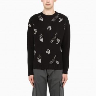 Black Sweater With Jacquard Logo