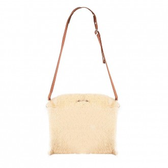 Bustone Bag In Soft Gold And Camel Shearling