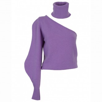 One-shoulder Wisteria Collar Sweater