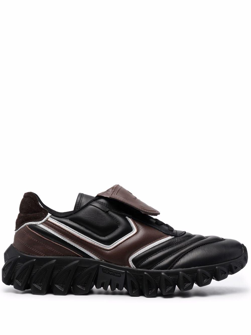 PANTOFOLA D'ORO Sneaker basse nere e marroni in pelle e camoscio con suola rigata