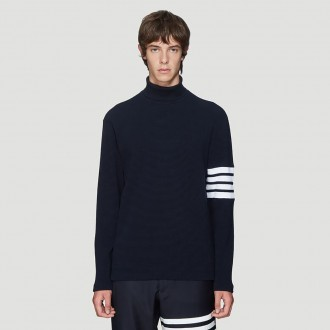Waffle-Knit Turtleneck Sweater in Navy