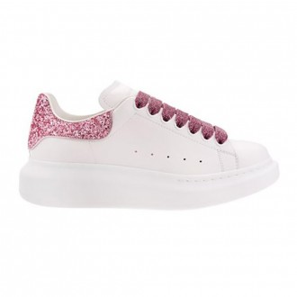 White Oversize Sneakers With Pink Glitter