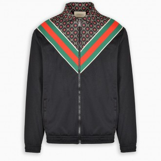 Oversized Jersey Jacket With Gg Stars