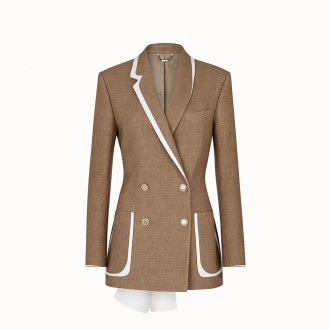 Beige Wool And Silk Jacket