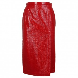 Red Naplack Pencil Skirt