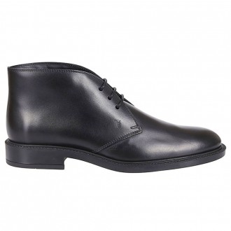 Black Lace-Up In Smooth Leather
