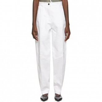 White High-Waisted Panelled Trousers