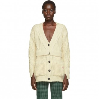Off-White Chunky Cable Oversized Cardigan