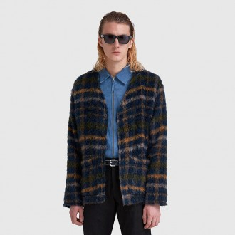 Mohair Checked Cardigan in Navy