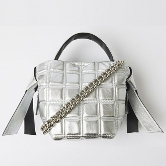 Mini Quilted Leather Bag Silver