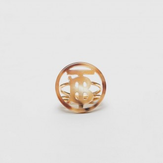Ring With Monogram Motif In Resin And Gold Plating