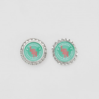 Palladium-plated Bottle Cap Shaped Earrings