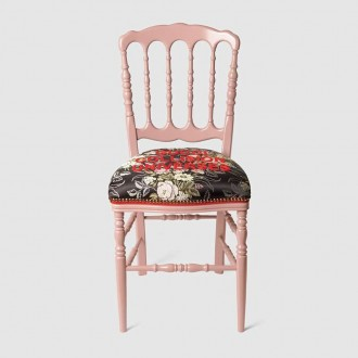 Wood Chair With Flower Jacquard