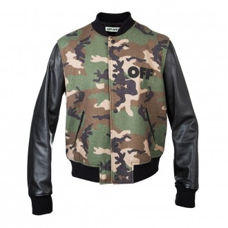 Off-White Leather Camo Bomber Green